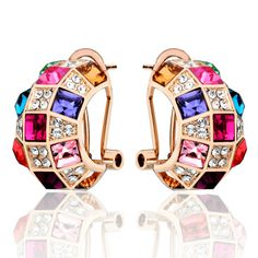 18K Gold Classical Colorful Stud Diamond Earring