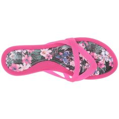 Crocs Isabella Print Wedge Flip (Candy Pink/Tropical) Women's Sandals ($28) ❤ liked on Polyvore featuring shoes, sandals, flip flops, wedge flip flops, wedge sandals, crocs flip flops, strappy wedge sandals and slip on wedge sandals