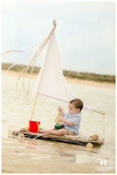 Baby boy on Vintage sail-raft-boat children photography