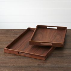 WilloughbyTraysFHF15 Willoughby Large Tray $69.95  Clean rectangular trays serve up warm and richly grained American walnut, styled modern with cutout handles and a linear, functional profile.