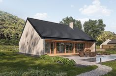 Projekt domu Murator C365j Przejrzysty - wariant X 104,5 m2 - koszt budowy - EXTRADOM Small Modern House Plans, My House Plans, Water Walls, Cottage Plan, Facade House, Home Fashion, Bungalow, Tiny House, Deco