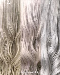 "Salem (@salemscissorhands), a freelance hair artist from Sacramento, CA (but relocating to Los Angeles, CA next month), posted this 3 panel photo of the same client with three different shades leading up to their mutual goal of silver blonde. Here Salem shares the formulas for this journey: Panel ""A"" (sandy beach blonde): Balayage the ends with Redken Flashlift + 20 volume. Paint the root with Kenra 5n + 20 volume. Process for 30 minutes and rinse. Tone with Kenra 5 Rapid Toner, 9P."
