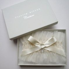 Ethereal wedding garter in ivory tulle by Florrie Mitton