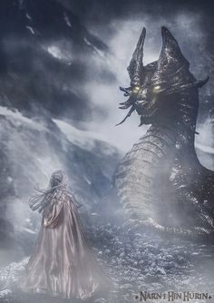 "Nienor and Glaurung   Based on the book ""The children of Hurin"" (J.R.R. TOLKIEN)  The children of Hurin by Lilta-photo.deviantart.com on @DeviantArt"