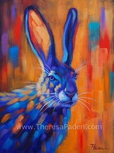 Colorful jack Rabbit, painting by artist Theresa Paden