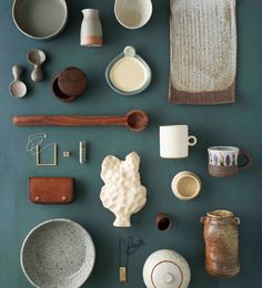 A little more honest to goodness Australian craft and design from the pages of Craft's catalogue. Each lovingly made object in this image given it's own space on a background of Porter's Paints Bottle Green