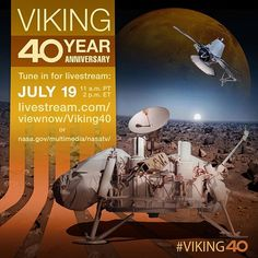 Our celebration of the Viking mission's 40th anniversary begins today with a 2 p.m. history talk featuring NASA's chief historian as well as Roger Launius of the Smithsonian. That program, as well as tomorrow's daylong Viking symposium, will be streamed live. Join us as we remember a landmark achievement in space exploration and look ahead to more discoveries on the Red Planet. #journeytomars