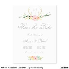 Antlers Pink Floral | Save the Date