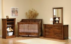 The Rosewood Nursery Furniture Set features a panel crib or slat crib, changing table, and storage options like dressers, chests, and nightstands.