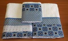 Toalha de banho e rosto com barrado em patchwork!