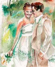 This is a custom watercolor painting I did for a customer as a first anniversary, wedding gift for the traditional paper gift idea! The buyer