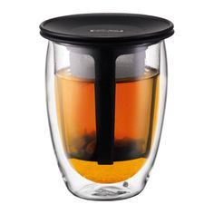 TEA FOR ONE | Glass, double wall, 0.35 l, 12 oz and tea strainer Black | Bodum Online Shop | United States