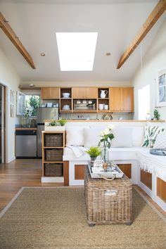 Whitney and Adam's Live/Work Canal Cottage 362 square feet of pure fabulous! Tiny Spaces, Small Apartments, Tiny House Living, Home And Living, Cottage Living, Compact Living, Tiny House Movement, Small Places, Tiny House Plans
