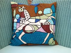 Picasso inspired horse cushion.
