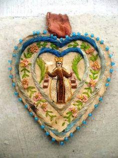 Antique Beautiful Silk Embroidery Scapular Detente Virgin Carmen Colonial | eBay