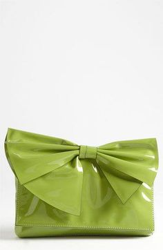 Valentino Lacca Bow Flap Clutch in Apple