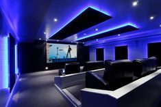 Pool House Cinema: Indoor pool was covered with concrete slab and then converted to a knockout home theater with color-changing LEDs Home Theater Lighting, Home Theater Room Design, Movie Theater Rooms, Home Cinema Room, Home Theater Decor, Best Home Theater, Home Theater Seating, Home Theater Speakers, Design Case