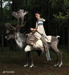 Almost magic Mongolian model riding reindeer: These unique photos are taken by photographer David G. Ganba, published with permission.