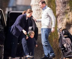 Another look at Prince George in his Petit Bateau dungarees, Start-rite Flexy Soft Air shoes and Stella McCartney 'Smudge' sweater complete with bunny ears!