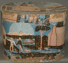 Wm. Henry Harrison themed wallpaper hat box