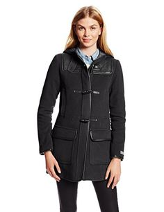 Cole Haan Women's Wool Plush Hooded Duffle Coat with Quilted Details, Black, 6 * Find out more about the great product at the image link.