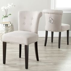 Shop for Safavieh En Vogue Dining Carrie Taupe Linen Side Chairs (Set of 2). Get free shipping at Overstock.com - Your Online Furniture Outlet Store! Get 5% in rewards with Club O!