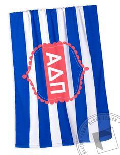 Alpha Delta Pi Beach Towel by ABD | Start a custom order today at Adam Block Design | Custom Greek Apparel & Sorority Clothes | www.adamblockdesign.com