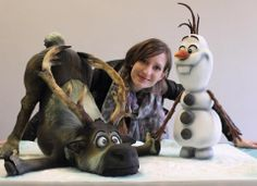 Cake of Olaf & Sven from Disney's Frozen - Made by Sweet As Sugar Cakes