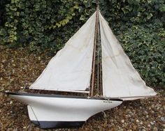 Early 1900s Bassett lowke Southwold Racer  pond yacht restored boat 26 inch hull Classic Toys, Yachts, Sailing Ships, Outdoor Gear, Pond, Boats, Restoration, Antiques, Model