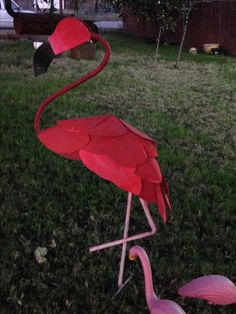 Flamingo Metal Art made of Rebar and aluminum for my birthday by my son