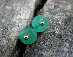Natural emerald stud earrings Genuine emerald post earrings