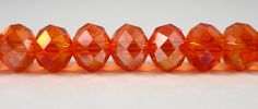 """Rondelle Crystal Beads 10x8mm (8x10mm) Orange AB Faceted Chinese Crystal Glass Beads for Jewelry Making on a 7 1/4"""" Strand with 24 Beads by BusyBeeBeadSupplies on Etsy"""