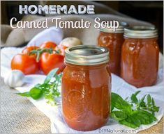 I developed this homemade canned tomato soup recipe specifically for the folks who loved my previous tomato soup recipe but wanted one that could be canned. Tomato Soup Can Recipe, Canning Tomato Soup, Canning Tomatoes, Freezing Tomatoes, Canning Vegetables, Stewed Tomatoes, How To Can Tomatoes, Canning Recipes, Soup And Salad