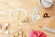 Always love the pretty and creative Rue La La homepages. I particularly like these colors Food Typography, Typography Letters, Graphic Design Typography, Hand Lettering, Prop Styling, Tumblr, Creative Logo, Creative Typography, Boutique
