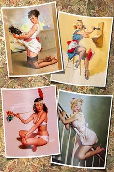 SEXY PIN-UP COLLAGE OF 4 GIRLS POSTER beautiful coy fun 24X36