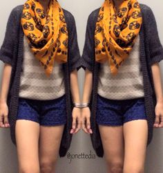 Fall outfit: skull scarf: sweater: cardi
