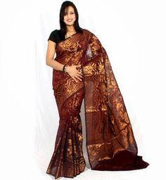 Georgette zari work banarasi border saree