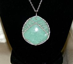 Blue-Green Wire Wrapped Pendant Necklace