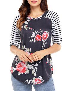 Women's Clothing, Tops & Tees, Blouses & Button-Down Shirts, Women Bohemian Crew Neck Shirt Sleeve Striped Floral Print Tops - - & Button-Down Shirts Stylish Tops For Girls, Trendy Tops For Women, T Shirts For Women, Clothes For Women, Casual Skirt Outfits, Ladies Dress Design, Casual Tops, Floral, Vestidos