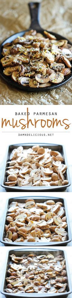 Baked Parmesan Mushrooms - The easiest, most flavorful mushrooms you will ever make, baked with parmesan, thyme and lemon goodness!