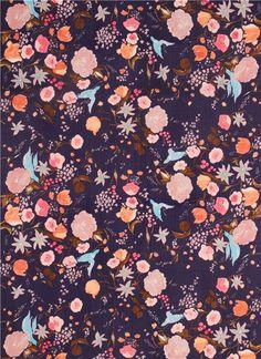 purple flower bird blossom Kokka double gauze fabric  3