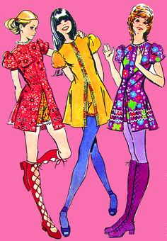 Read about Baby Boomer Fashion Trends - these hot pants short dresses were the latest fashion trend in 1971 -