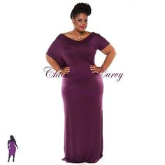 New Plus Size Off the Shoulder Floor Length Dress in Eggplant available at www.chicandcurvy.com