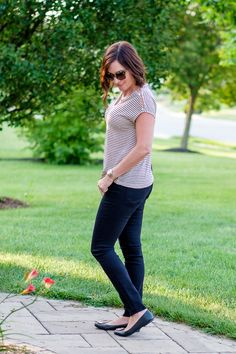 Early Fall Outfit Inspo: black jeans with Lucky Brand linen stripe tee and black Tory Burch ballet flats