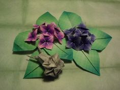 Origami   hydrangea and  snail    folded   by   me