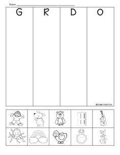 G, R, D, & O beginning sounds review sheet