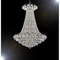 Swarovski Crystal Trimmed French Empire Chandelier Lighting, Silver