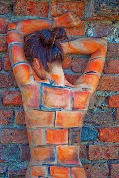 """Never blend in to the environment. ☮ American Hippie Music Art ~ """"Just Another Brick In the Wall"""" - Photography by Kristijan Antolovic, 2009 - Body painting by Matea Mazur - Model: Mirzana, Osijek, Croatia Brick In The Wall, Brick Wall, Conceptual Photography, Creative Photography, Body Art Photography, Photography Women, Arte Peculiar, Graffiti, Image Mode"""