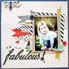 papercraft scrapbook layout Fabulous by ecolby at Studio Calico, patterned paper, pretty paper, one photo, bunting banner Kids Scrapbook, Scrapbook Templates, Scrapbook Sketches, Scrapbook Page Layouts, Scrapbook Paper Crafts, Scrapbook Cards, Scrapbook Patterns, Picture Layouts, Studio Calico
