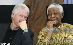 Johannesburg, South Africa. Former American president, Bill Clinton and former South African president, Nelson Mandela, sharing a few relaxed moments at a function at the Walter Sisulu Paediatric Cardiac Center for Africa at Sunninghill Hospital.